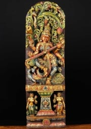 Wood Saraswati with 3 Peacocks 48