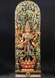 Wooden Saraswati in Beautiful Canopy 72