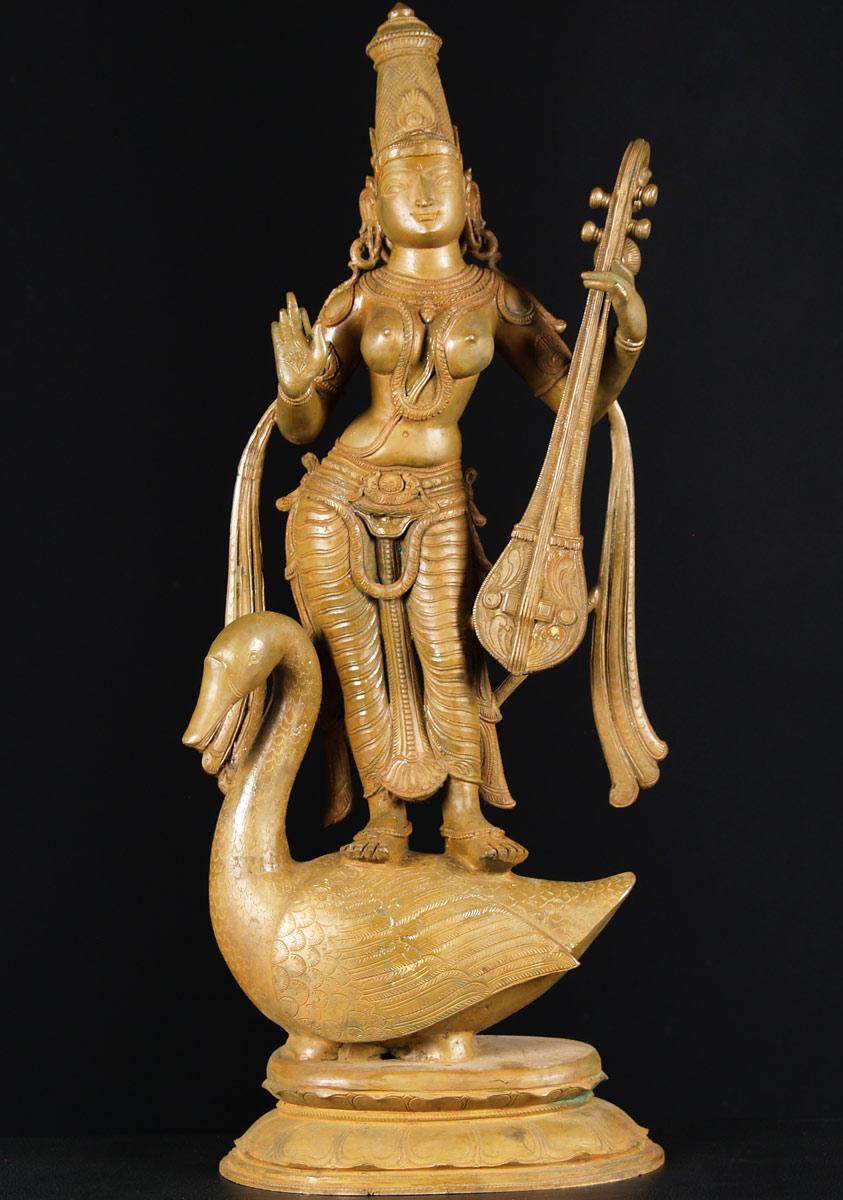 Sold Bronze Sarawati With Swan 27 Quot 73b20 Hindu Gods Amp Buddha Statues