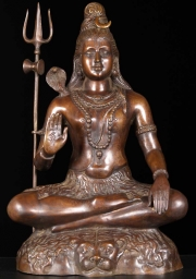 Brass Seated Shiva on Tiger Skin 24