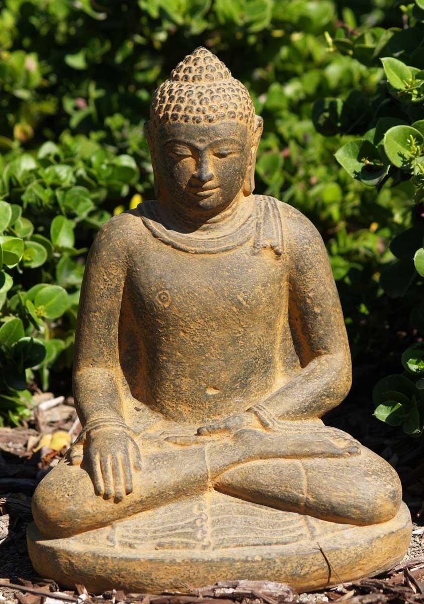 Sold stone earth touching garden buddha 12 67vc12a - Buddha fur garten ...