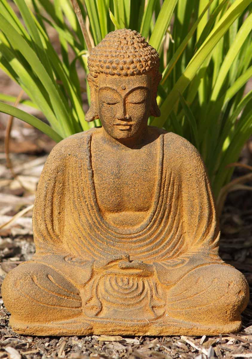 "Buddha Statues For The Garden: SOLD Small Meditating Garden Buddha Statue 8"" (#67vc1b"