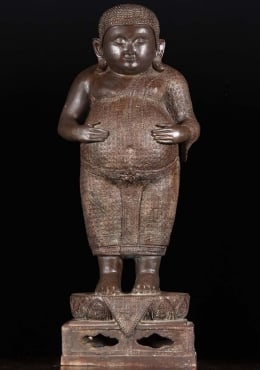 Thai Brass Fat & Happy Buddha with Hands on Belly 31