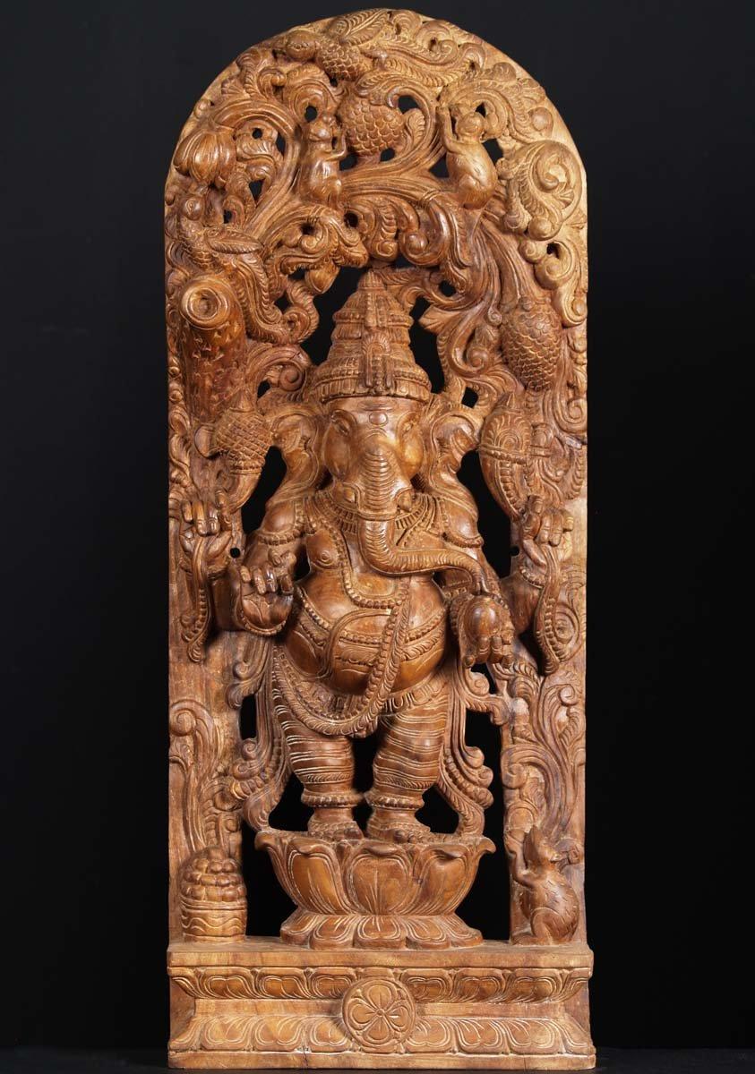 Sold Wooden Standing Ganesh Statue 36 Quot 65w102 Hindu