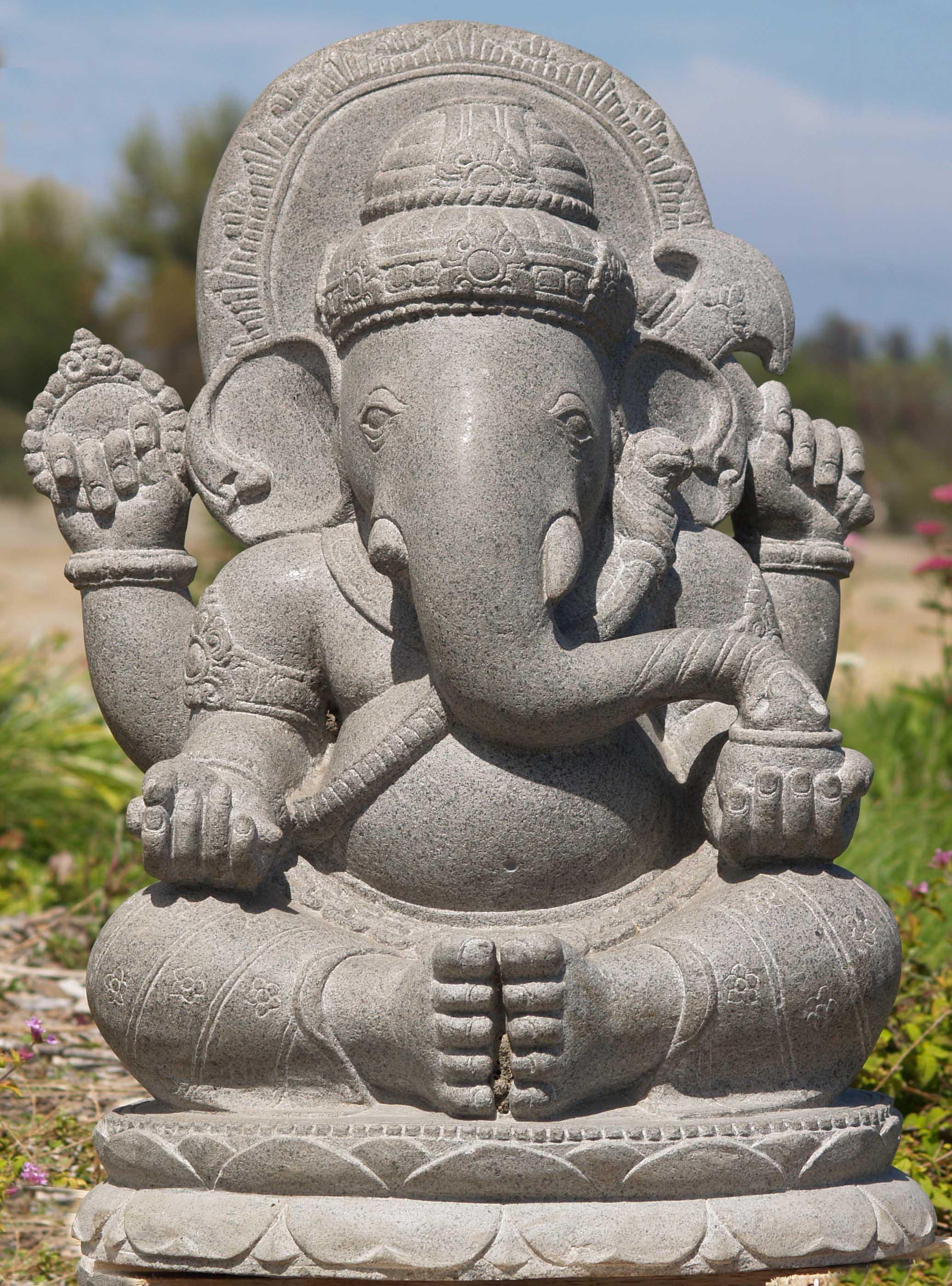 "SOLD Stone Ganesh Garden Statue 28"" (#69ls58): Hindu Gods & Buddha"