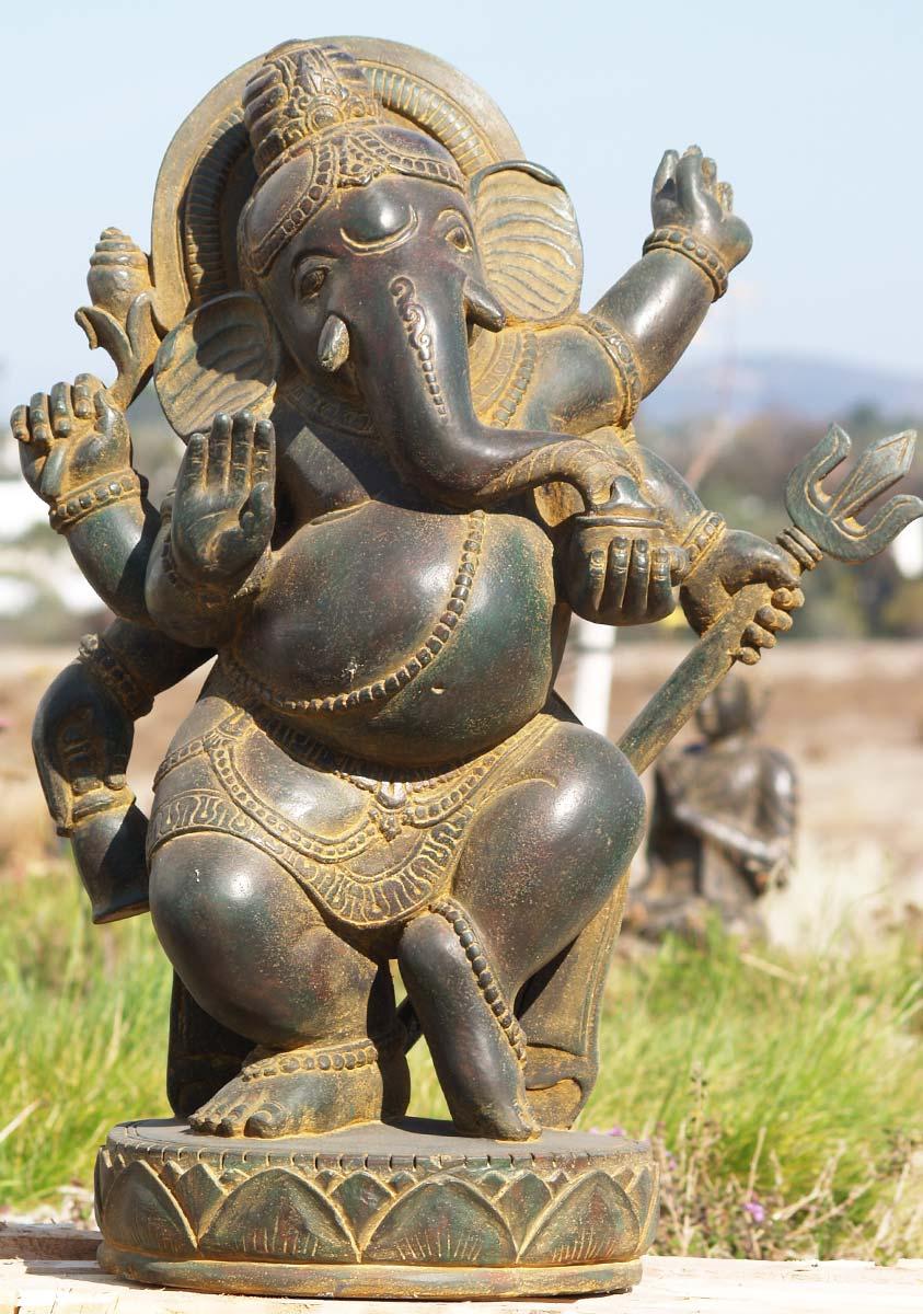 Sold stone dancing garden ganesh quot ls hindu gods