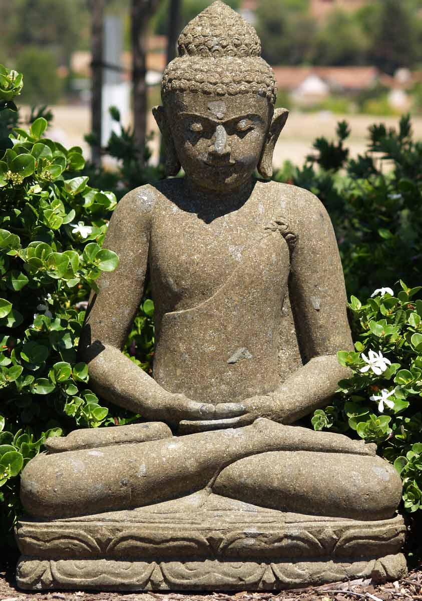 Sold stone meditating buddha sculpture 33 67ls28 for Outdoor buddha