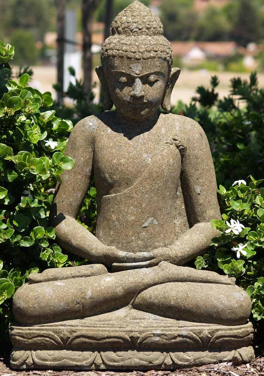 sold stone meditating buddha sculpture 33 67ls28 hindu gods buddha statues. Black Bedroom Furniture Sets. Home Design Ideas