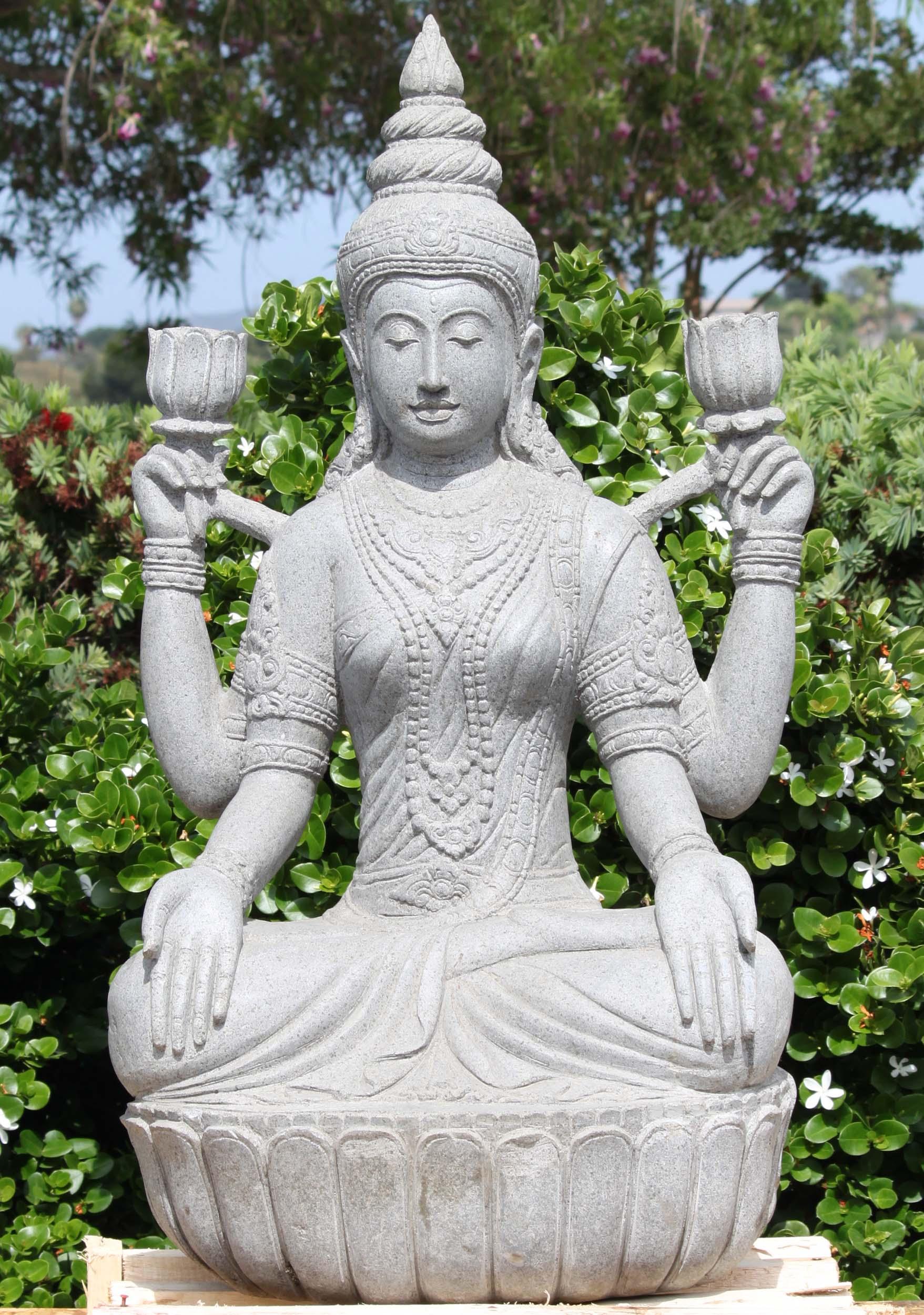 Stone Seated Lotus Lakshmi Garden Statue