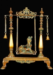 Brass Baby Butter Krishna on Swing 16