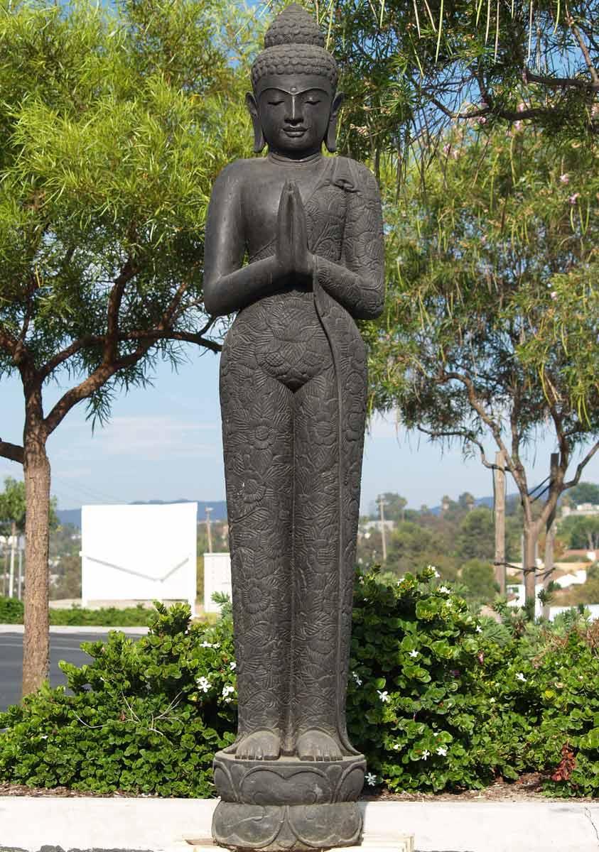 "Buddha Statues For The Garden: SOLD Stone Tall Praying Garden Buddha 78"" (#69ls89b"