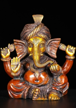 Brass Ganesha Statue Wearing Turban 6