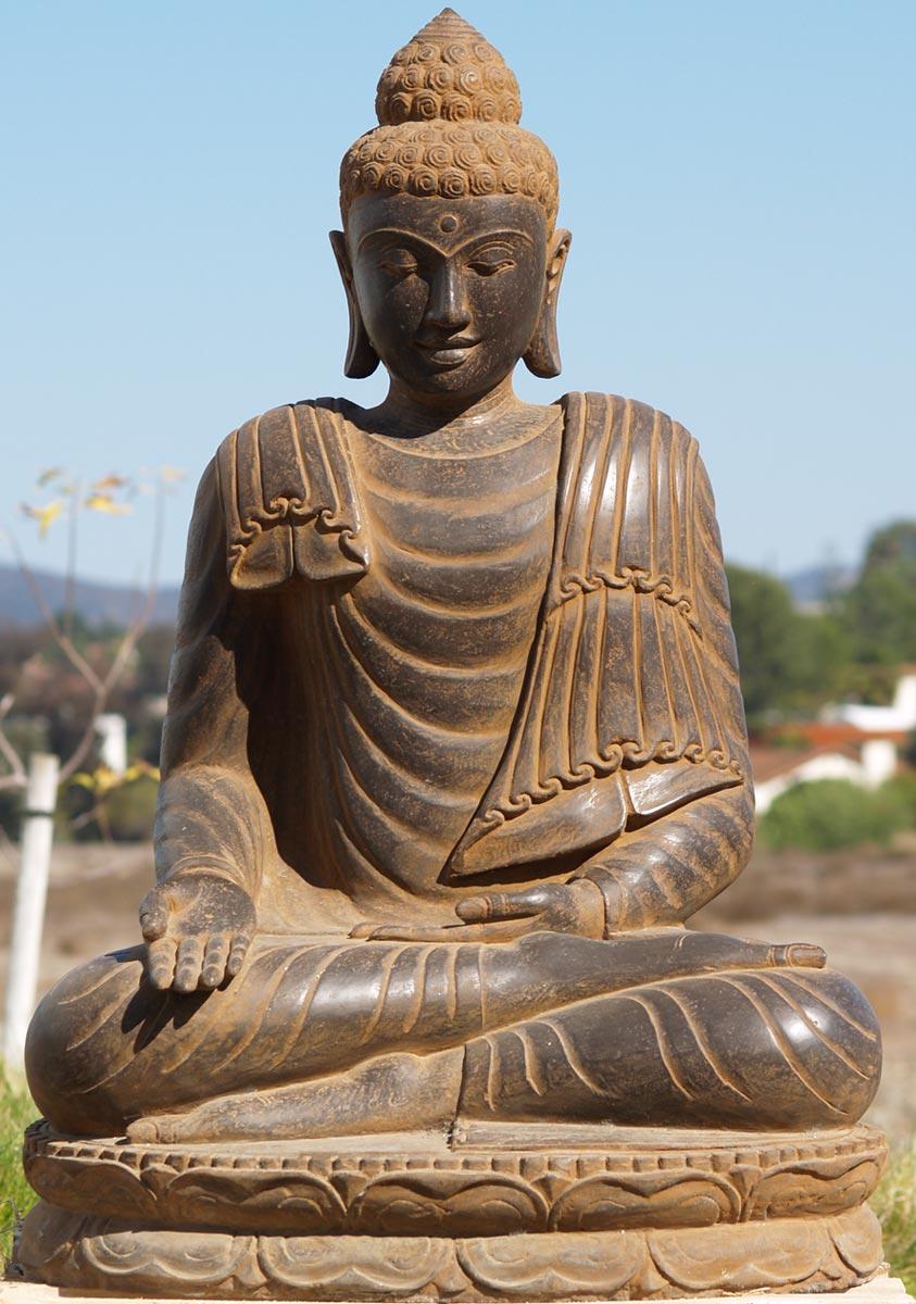 Sold stone varada garden buddha 40 77ls40 hindu gods for Outdoor buddha