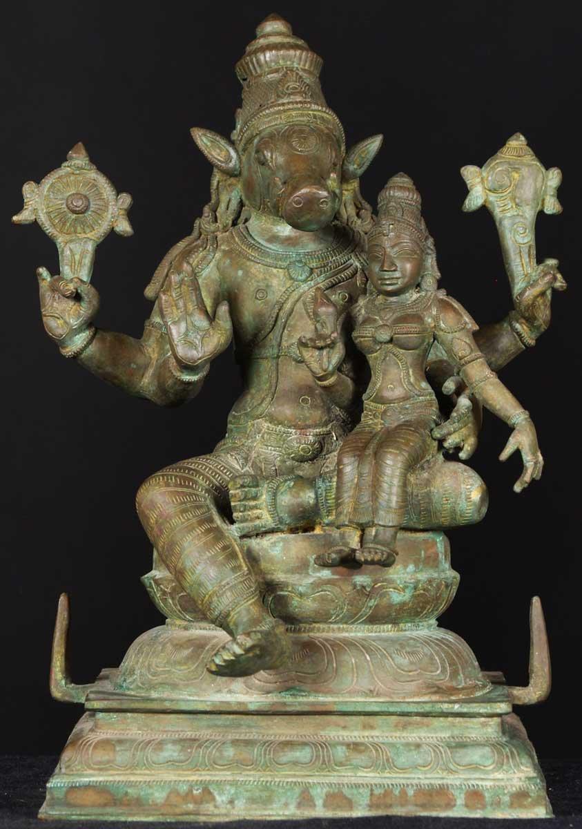 "SOLD Bronze Varaha Statue with Lakshmi 15"" (#31b31): Hindu ..."