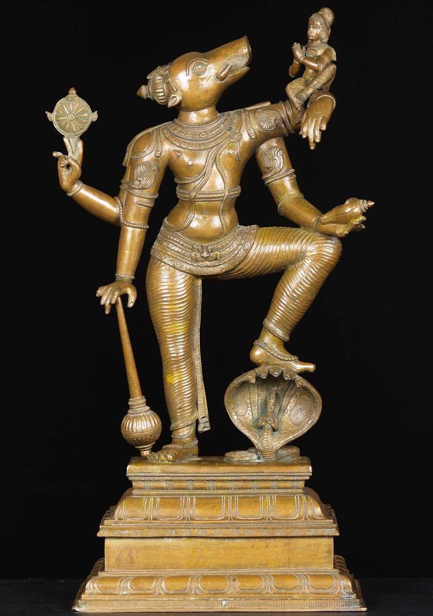 Sold Bronze Varaha Statue With Lakshmi 24 57b95 Hindu