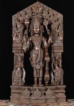 Brass Vishnu Statue with Consorts 29
