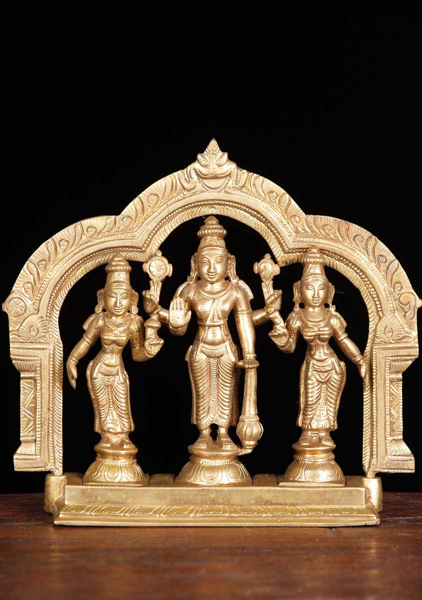 Sold Bronze Vishnu With Bhudevi And Sridevi 6 5 Quot 64b76