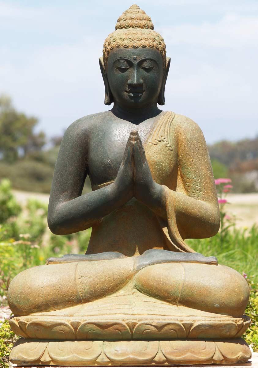 SOLD Stone Wai Buddha Garden Statue 34 69ls34 Hindu Gods