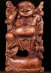 Wood Fat Buddha Holding Child 24