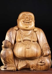 Wooden Large Fat  Happy Buddha 32