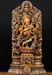 Wood Ganesh Statue with 9 Peacocks 48