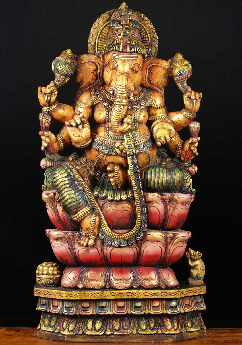 Sold Wooden Seated Ganesh With 6 Arms 48 Quot 65w58 Hindu