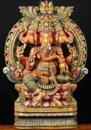 Wood Trimukha Ganapathi Statue 48