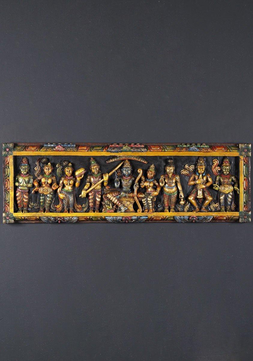 Sold Wooden Wall Rama Hanuman Panel 36 Quot 65w28d Hindu