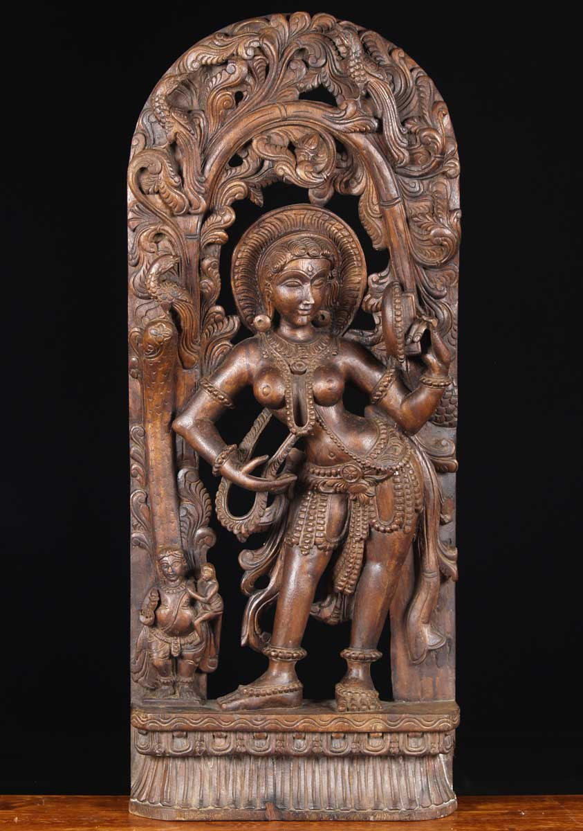 Sold wooden mirror devi carving quot w jj hindu gods