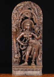 Wooden Mirror Devi Carving 36