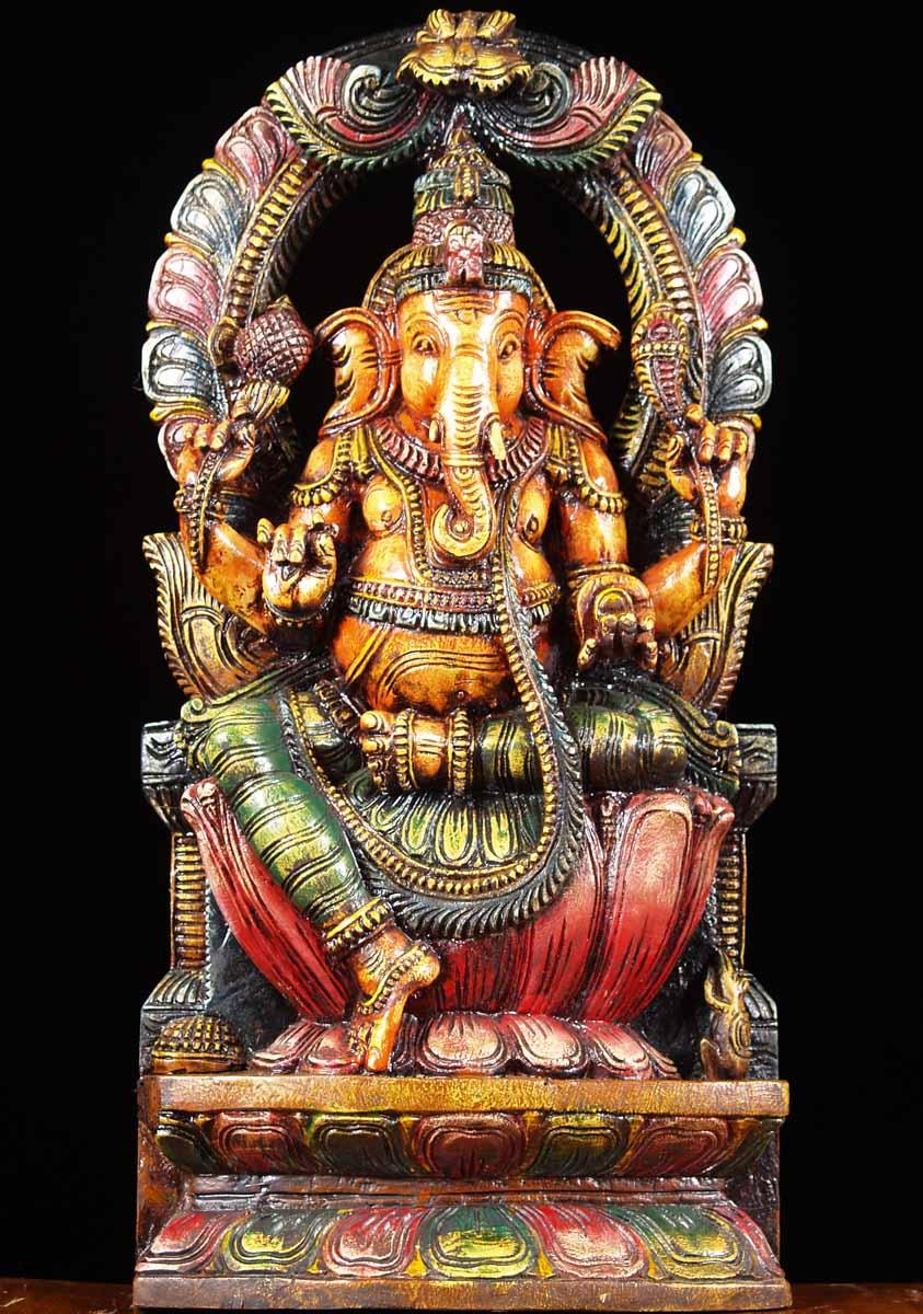 sold wooden hindu god ganesh statue 24 65w13b hindu gods amp buddha