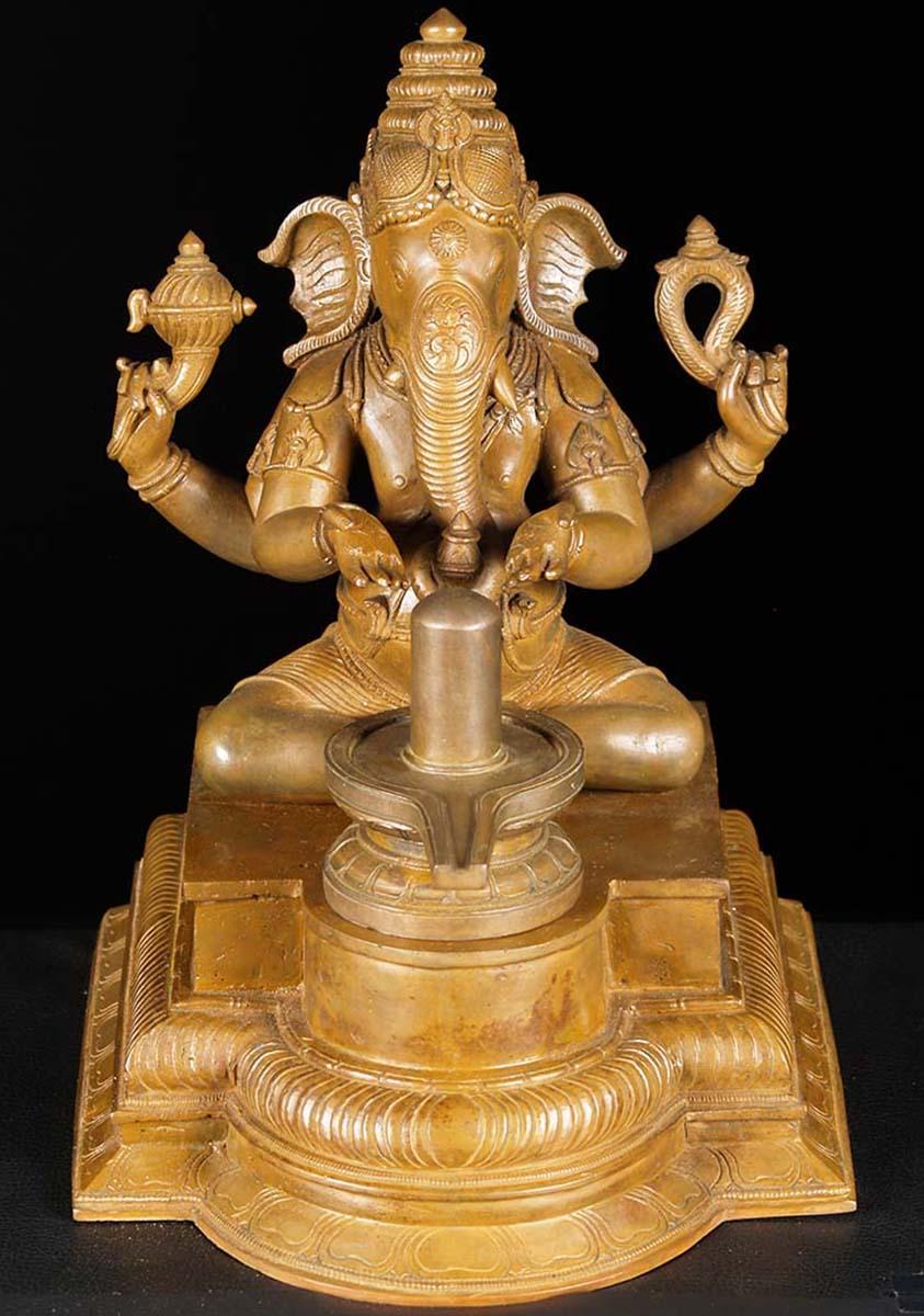 Lingam Statue Bronze Ganesh Lingam P...