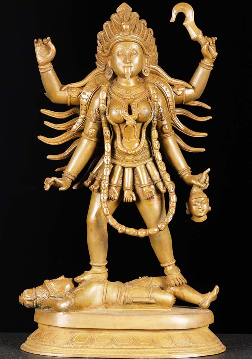 Sold Bronze Kali Standing On Shiva 18 5 Quot 73b18 Hindu