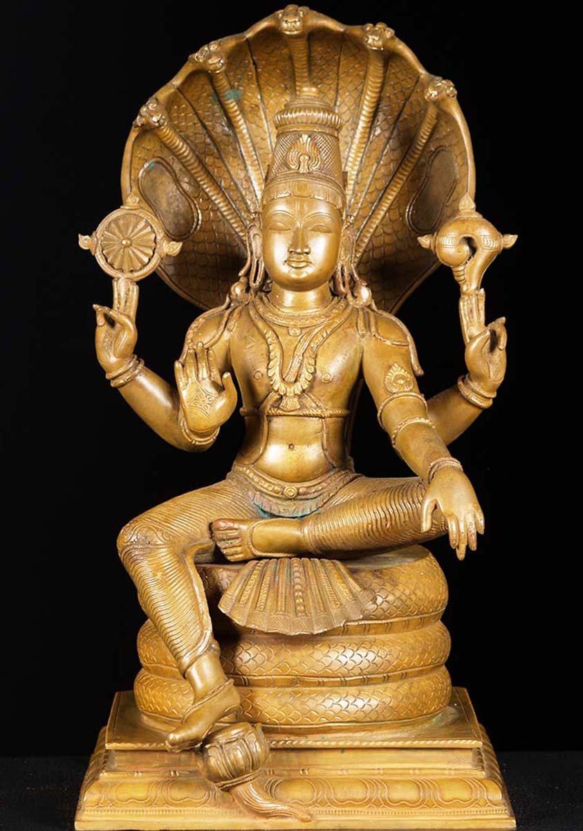 Sold Bronze Seated Vishnu Statue 15 Quot 73b13 Hindu Gods