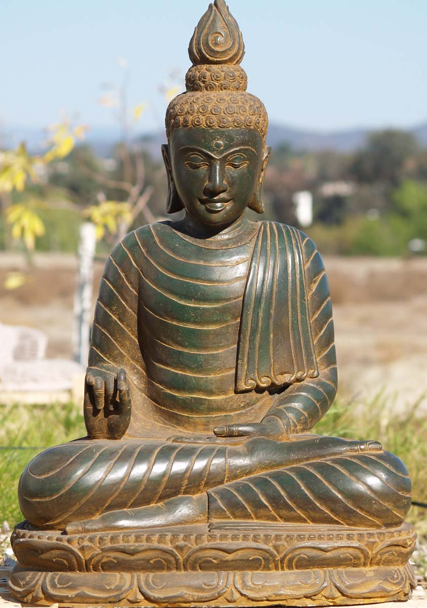 sold stone green garden buddha statue 32 77ls23 hindu. Black Bedroom Furniture Sets. Home Design Ideas