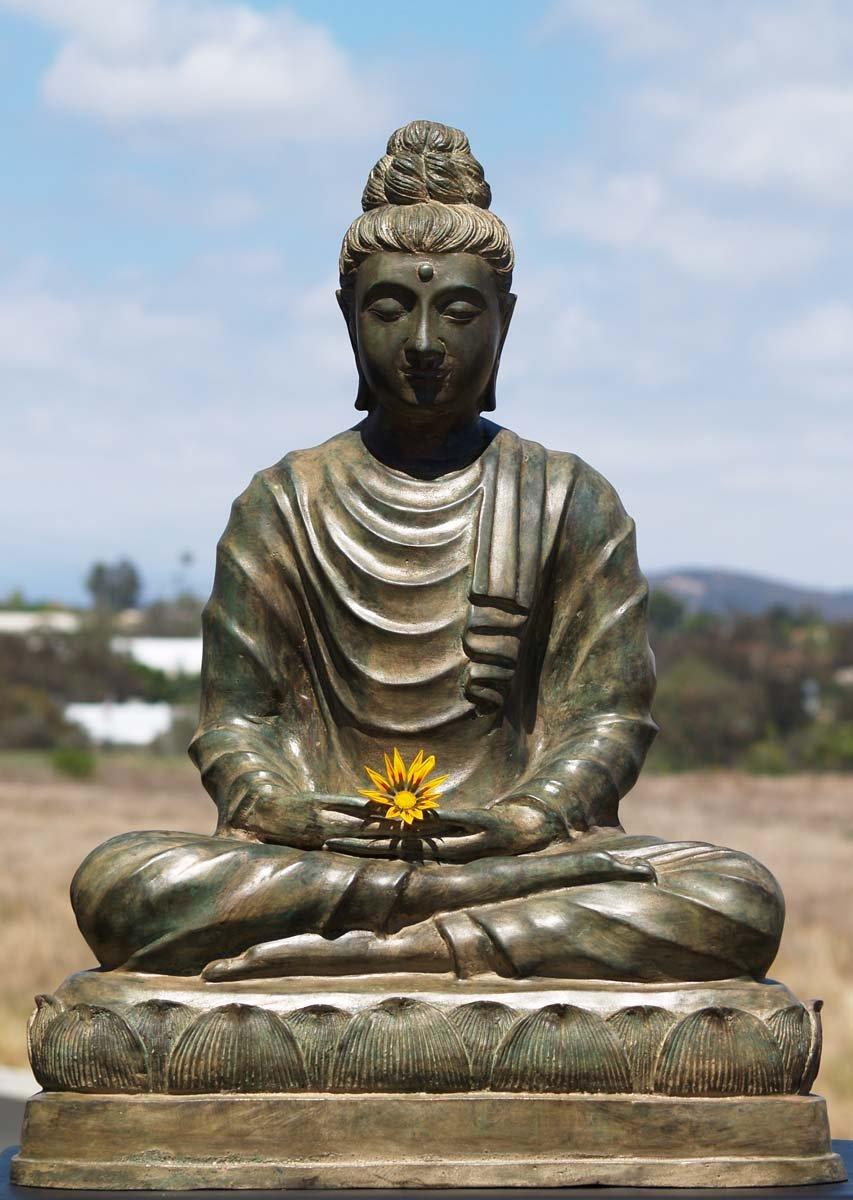 Sold Brass Gandhara Meditating Buddha Statue 26 Quot 58t1