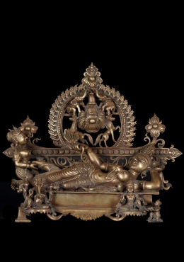Bronze Laying Parvati with Ganesha & Murugan 16