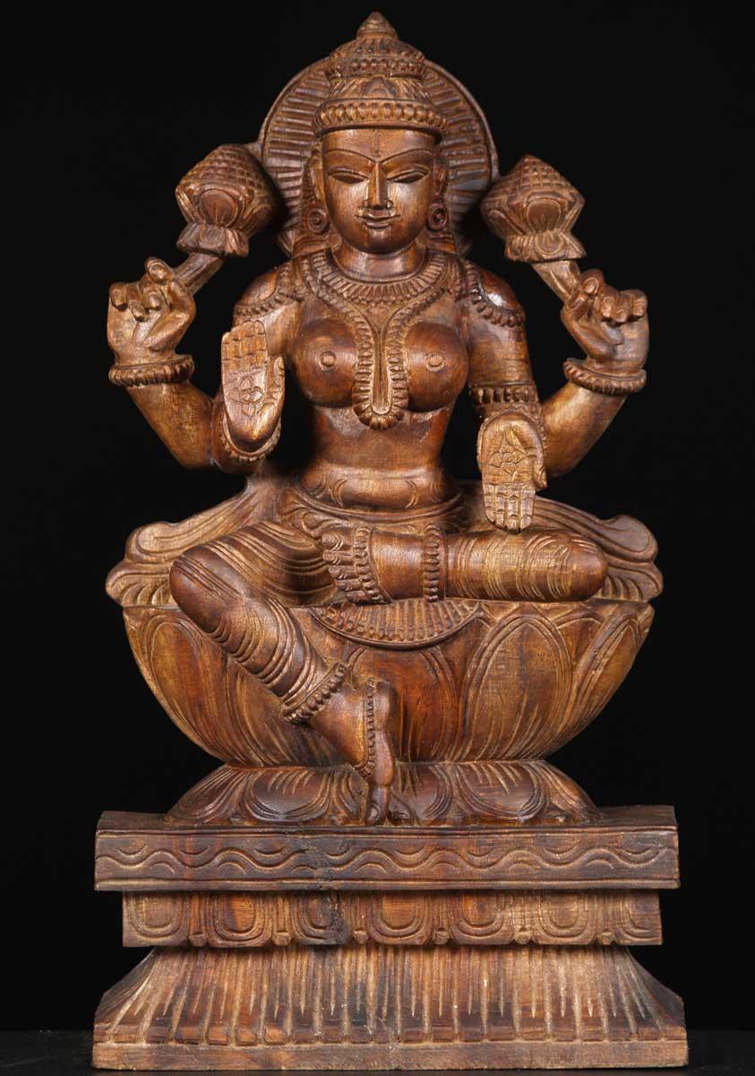 Sold Wooden Goddess Lakshmi Statue 18 65w12 Hindu