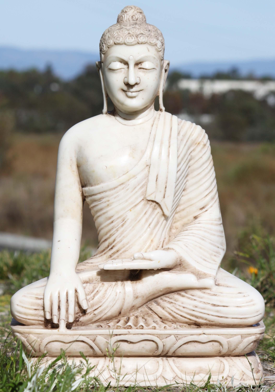 SOLD White Marble Buddha Garden Statue 24 71wm80 Hindu Gods