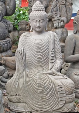 Stone Buddha Garden Statue with Flowing Robe 57