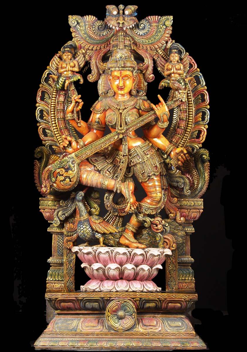 Sold wood large dancing saraswati statue quot w