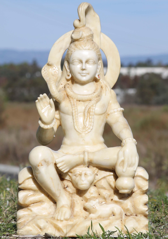 Sold White Marble Shiva Statue In Abhaya Mudra 28