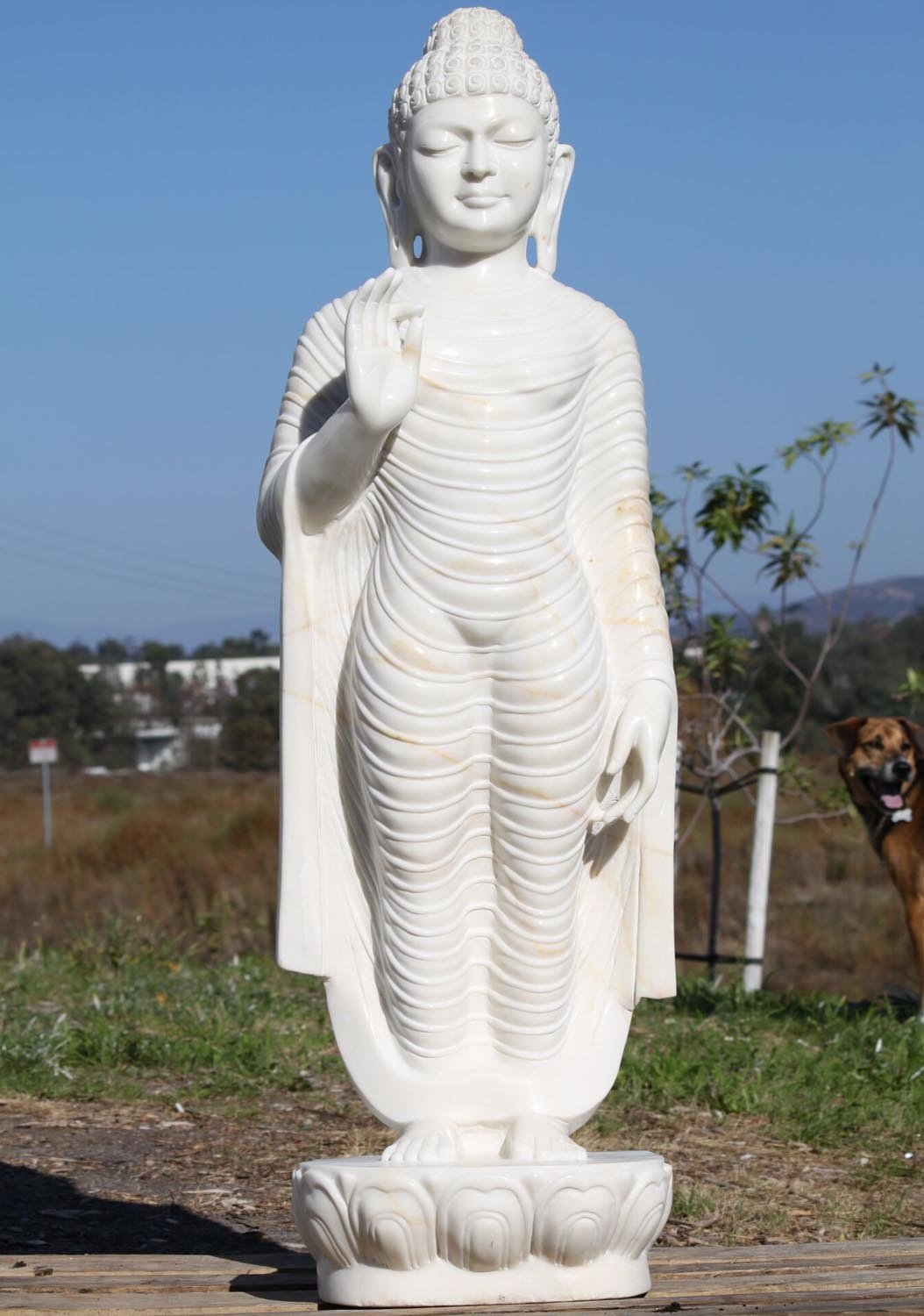 Sold White Marble Standing Teaching Statue 48 Quot 80wm11