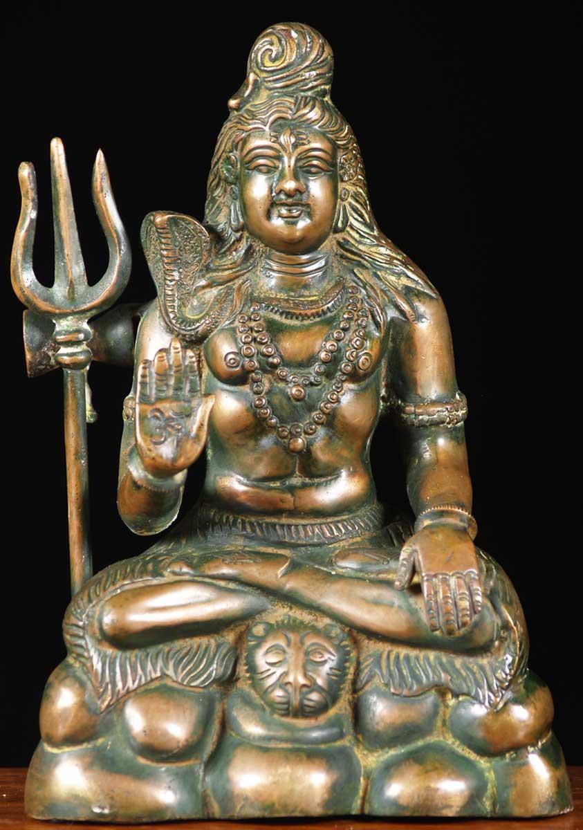 Sold Brass Seated Abhaya Mudra Shiva 10 5 Quot 65bs9 Hindu