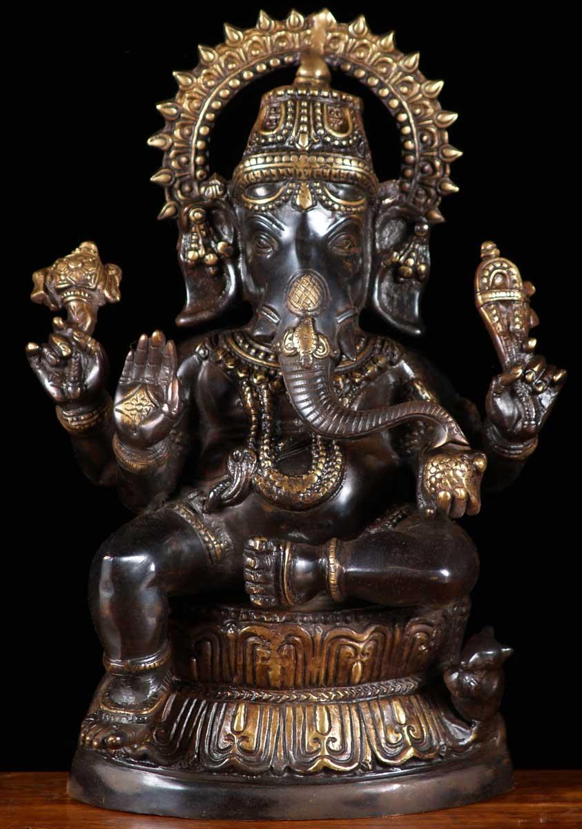 Sold Brass Black Ganesh Statue 16 Quot 65bs3 Hindu Gods