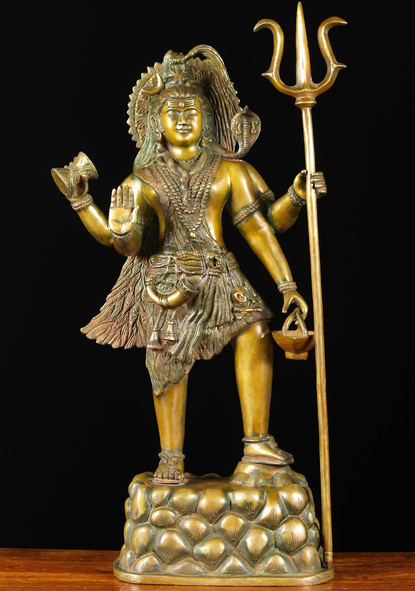 Sold Brass Standing Shiva With Trident 29 Quot 65bs8 Hindu
