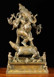 RESERVED Bronze Mooshika Ganesh with Rats 18