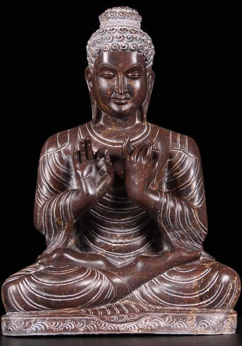 Sold Black Marble Dharmachakra Buddha 19 Quot 65m39 Hindu