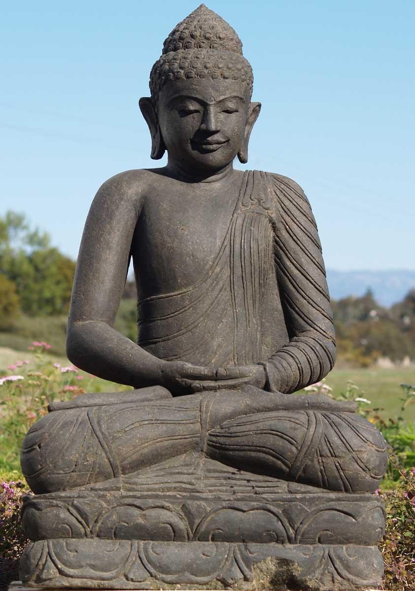 Sold stone meditating buddha statue quot ls hindu