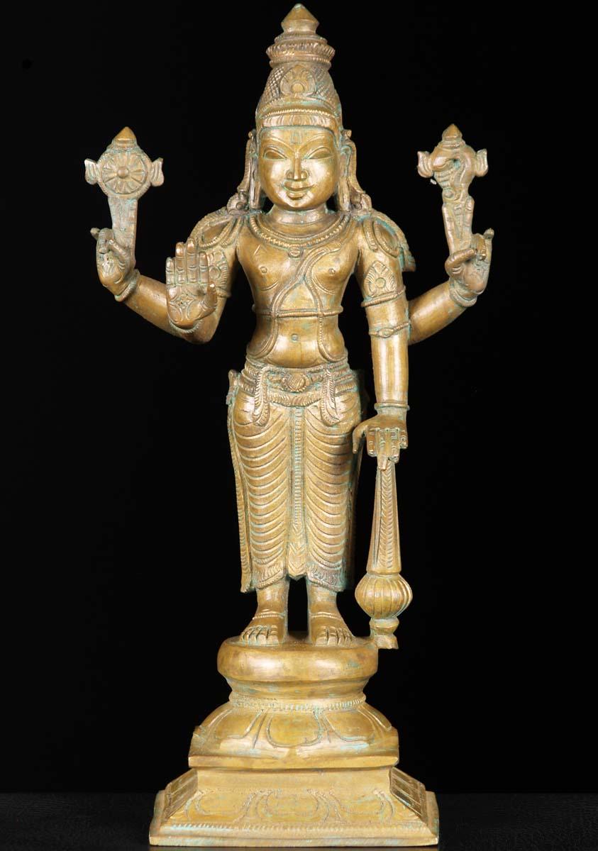 Sold Bronze Gada Vishnu Statue 12 Quot 74b75b Hindu Gods